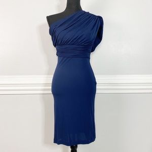 Halston Heritage Draped Navy Blue Ruched Dress